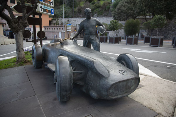 Race legend Fangio with a bronze car on a roundabout in Monaco | Monaco ville | Monaco