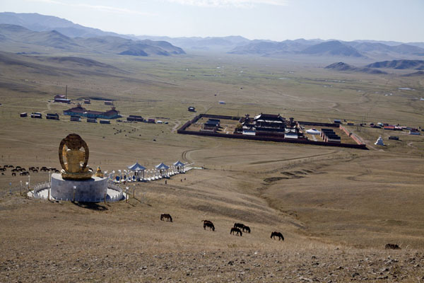Looking down at Amarbayasgalant Khiid with Buddha statue in the foreground | Amarbayasgalant Khiid | Mongolia