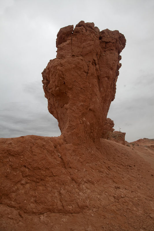 Picture of Looking up a formation of red sand at the Flaming CliffsBayanzag - Mongolia