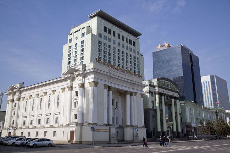 Bank buildings at the west side of Chinggis Khaan square | Dzjengis Khan plein | Mongolië