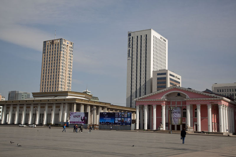 Picture of East side of Chinggis Khaan square with State Opera&Ballet Theatre and Cultural Palace in the background - Mongolia - Asia