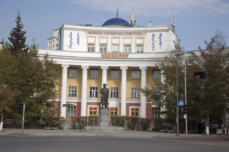 Mongolian State University building on the northeast corner of Chinggis Khaan square | Dzjengis Khan plein | Mongolië