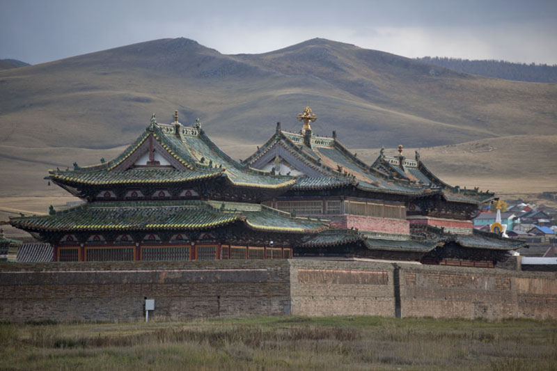 Picture of Erdene Zuu Khiid (Mongolia): Three main temples of Erdene Zuu monastery in the late afternoon