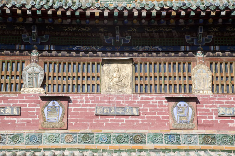Close-up of the front side of the Zuu of Buddha temple | Erdene Zuu Khiid | Mongolia