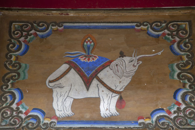 Close-up of painting of an elephant in one of the temples | Erdene Zuu Khiid | Mongolia