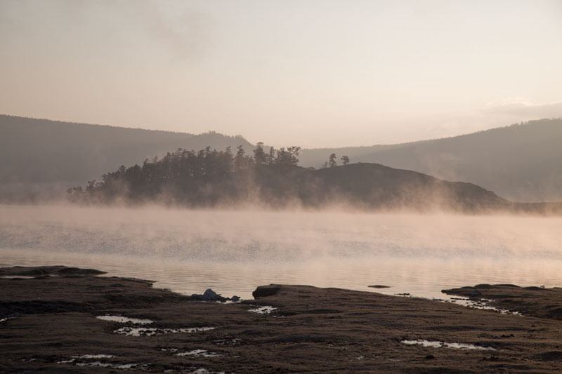 Picture of Fog over Khövsgöl Nuur just after sunrise - Mongolia - Asia