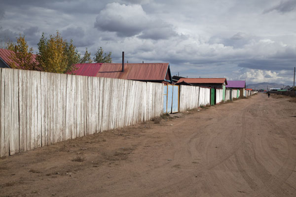 Street in Mörön with wooden fences | Mörön | Mongolia