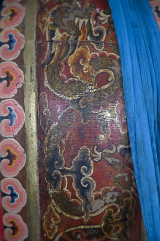 Close-up of a drum in the temple of Ongiin Khiid | Ongiin Khiid | Mongolia
