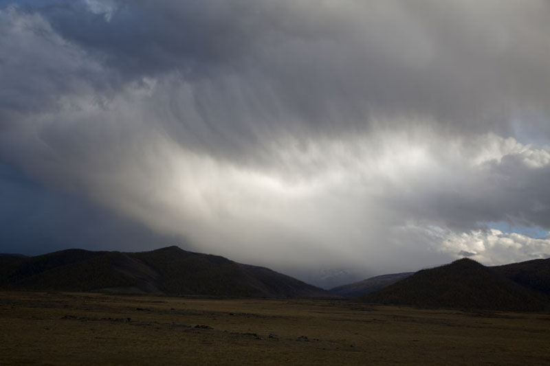 Picture of Orkhon valley covered clouds