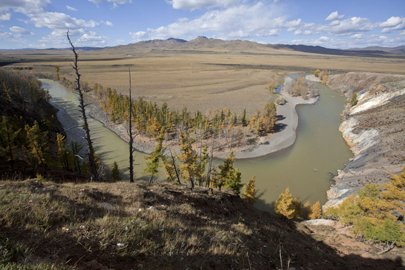 Bend in Orkhon river in the valley | Orkhon valley | Mongolia