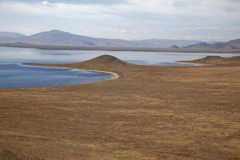 Picture of Gentle shoreline of the northern side of Great White Lake - Mongolia - Asia