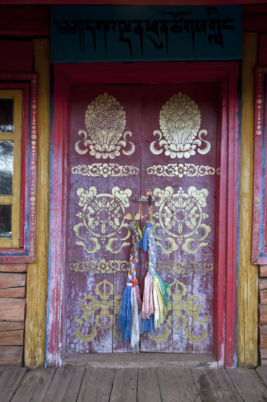 Picture of Tövkhön Khiid (Mongolia): Temple door at Tövkhön Khiid