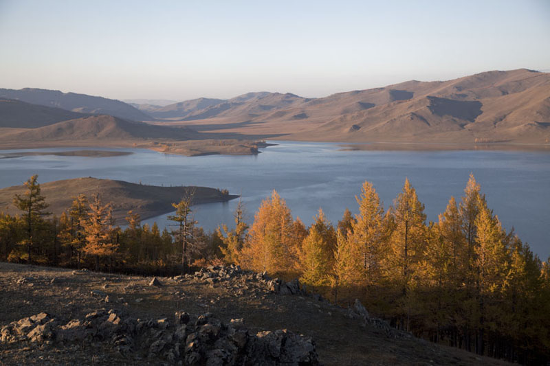 Picture of Panoramic view of Zuum Nuur with mountains and trees in autumn coloursZuum Nuur - Mongolia