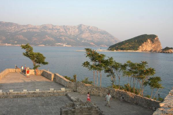 View over the bay of Budva with St Nikola island | Budva Old Town | Montenegro