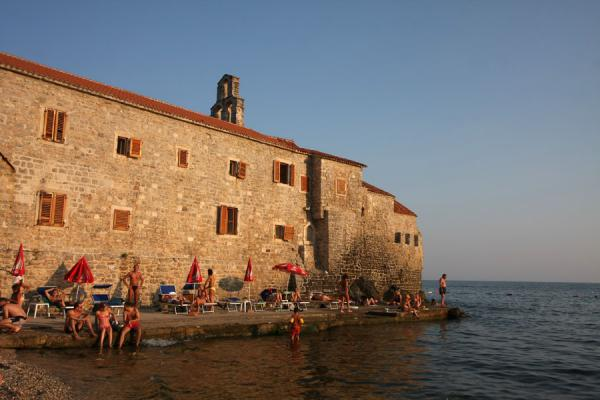 Side view from the Stari Grad beach of Budva |  |