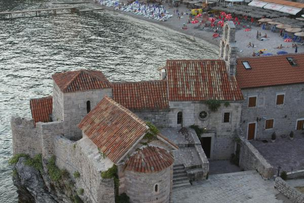 Picture of Budva Old Town (Montenegro): Stari Grad, Old Town, beach and St Mary in Punta church seen from above