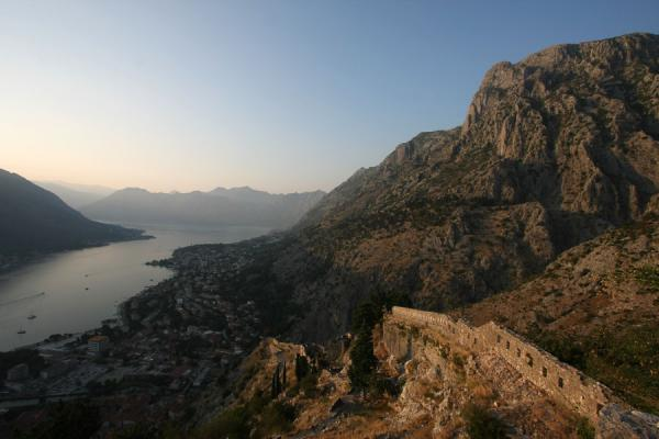 Foto van View over Bay of Kotor with part of the fortress wallKotor - Montenegro