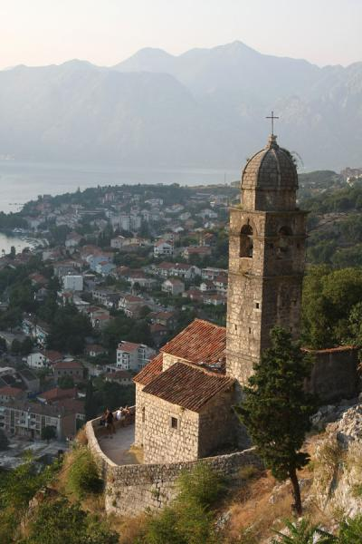 Foto van Church above Kotor and the Bay of KotorKotor - Montenegro