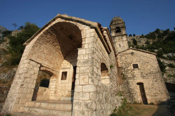 Foto van Church of our Lady of Remedy on the slopes of the fortification of KotorKotor - Montenegro