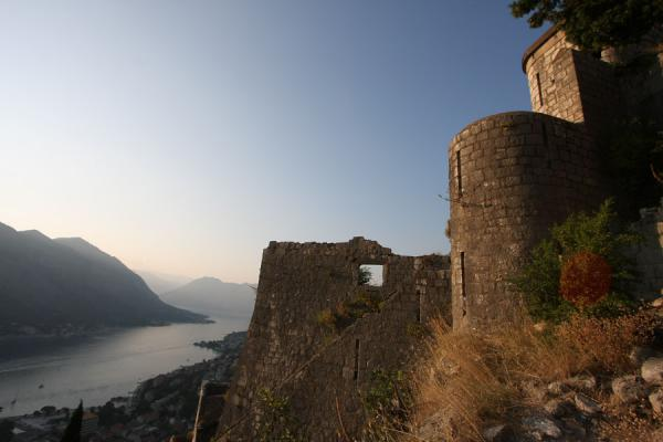 View over Bay of Kotor with walls of the fortress in the foreground |  |