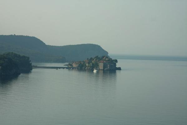 Picture of Sveti Stefan seen from a distance in the early morning