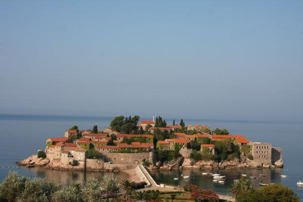 Foto van Sveti Stefan in the early morningSveti Stefan - Montenegro