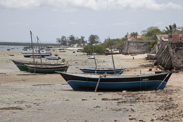 Picture of Boats at low tide stranded on the beach of Ibo