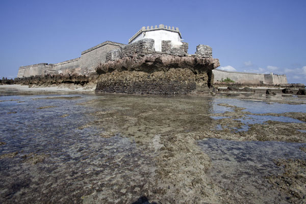 Picture of Ilha de Moçambique (Mozambique): View of the Capela de Nossa Senhora do Baluarte and the São Sebastião fortress at low tide