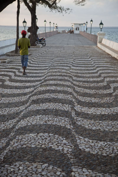 Picture of One of the best spots to watch sunset on Ilha de Moçambique, the pier is decorated in typical Portuguese style