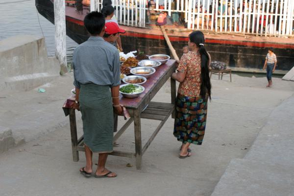 Selling food for passengers means just putting your table out | Ayeyarwady Boat | Myanmar (Burma)