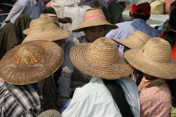 Picture of Myanmar (Burma) (Burmese girls with hats on the Ayeyarwady boat to Mandalay)