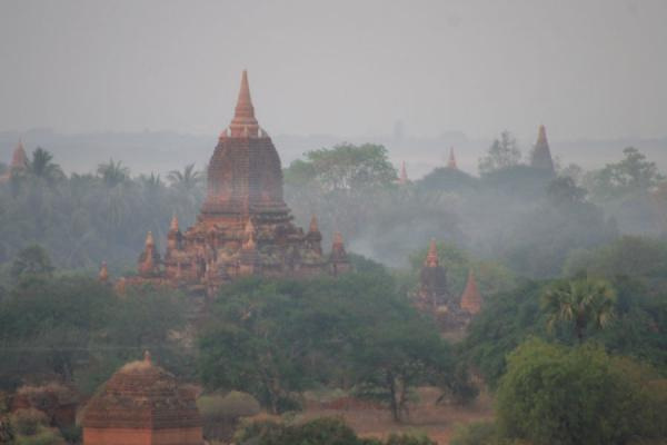 One of the many temples appearing from the morning fog | Bagan | Myanmar (Burma)