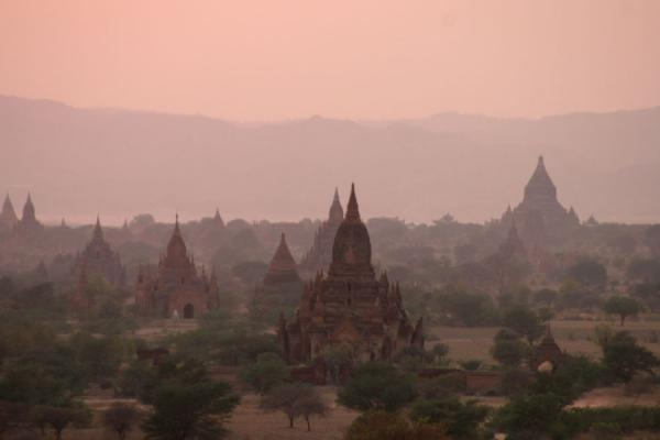 Bagan at sunset, spires everywhere | Bagan | Myanmar (Burma)