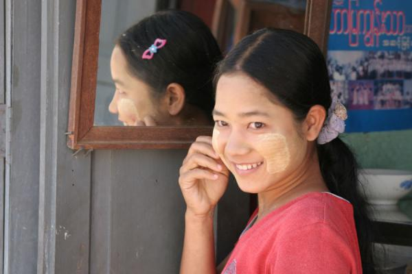 Picture of Myanmar (Burma) (Burmese girl reflected in the mirror of her shop)