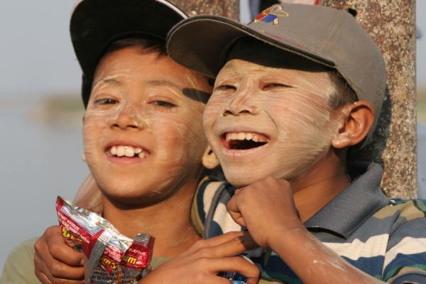 Picture of Burmese faces (Myanmar (Burma)): Burmese boys having fun with each other
