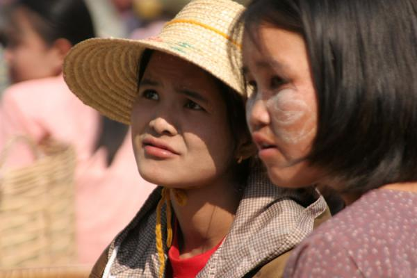 Two young women on a market in the streets | Burmese faces | Myanmar (Burma)