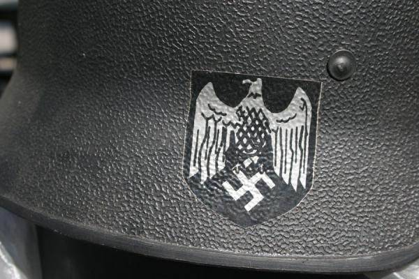 Picture of Burmese helmets (Myanmar (Burma)): German eagle on a sticker on a Burmese helmet