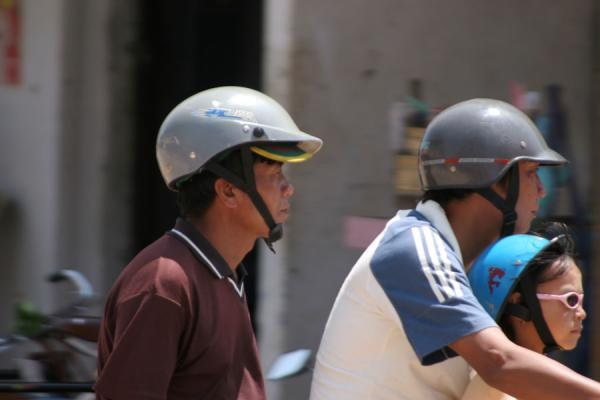 Picture of Burmese helmets (Myanmar (Burma)): Helmets in the streets of Myanmar
