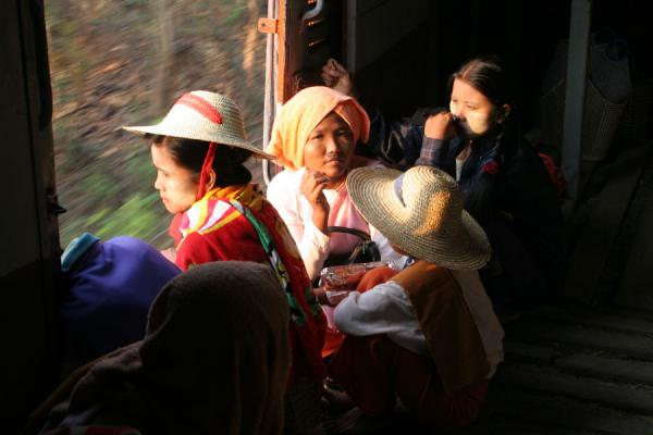 Picture of Burmese public life (Myanmar (Burma)): Burmese women sitting on the train to Katha