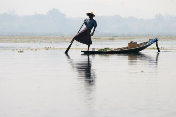 Picture of Traditional leg-rowing displayed by Intha man on Inle Lake