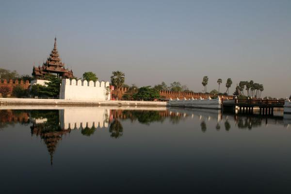 Reflections of the palace walls in the surrounding moat | Mandalay | Myanmar (Burma)