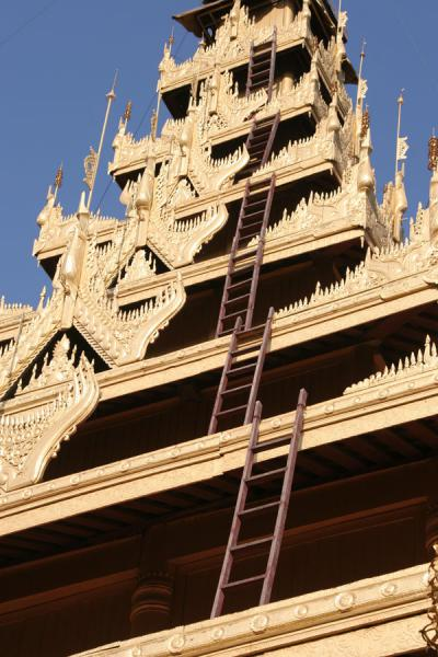 Looking up the tower of the Royal Palace temple | Mandalay | Myanmar (Burma)