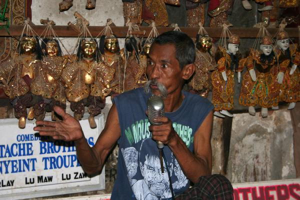 Picture of Moustache Brothers (Myanmar (Burma)): Lu Maw, one of the Moustache Brothers, speaks English well and is the showmaster