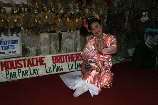 Picture of Moustache Brothers (Myanmar (Burma)): Ni Ni Lin, wife of Lu Maw during one of her performances