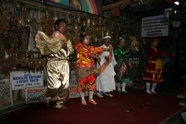 Picture of Moustache Brothers (Myanmar (Burma)): Most of the Moustache Brothers troupe on stage