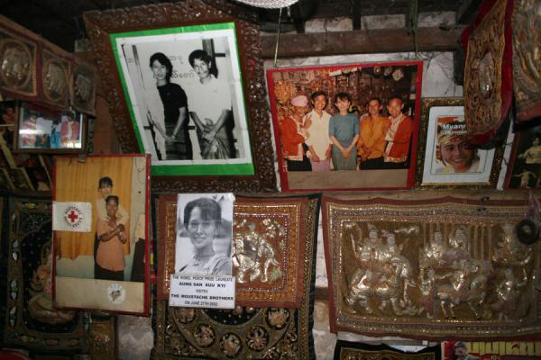 Picture of Moustache Brothers (Myanmar (Burma)): Moustache Brothers fame on display on the wall of the performing room