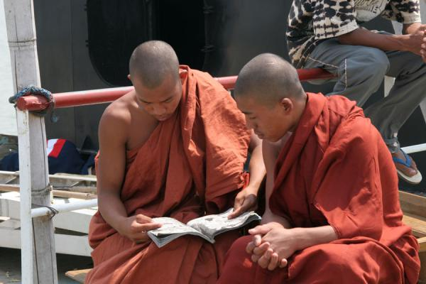 Two Burmese Buddhist monks studying on a boatride | Myanmar monks | Myanmar (Burma)