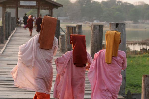 Picture of Young Burmese nuns walking U Bein bridge near AmarapuraMyanmar (Burma) - Myanmar (Burma)