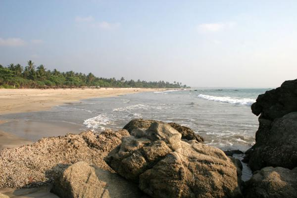 Picture of Ngwe Saung Beach (Myanmar (Burma)): Ngwe Saung Beach with rocks and waves and lots of sand