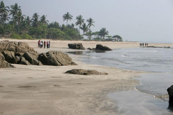 Picture of Ngwe Saung Beach (Myanmar (Burma)): Sand, rocks and palmtrees at Ngwe Saung Beach